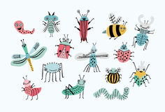 Funny bug set. Collection happy cartoon insects. Colorful hand drawn illustration. Royalty Free Stock Photography