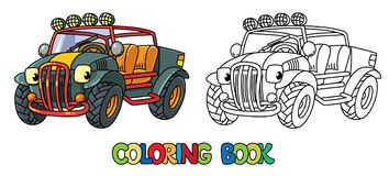 Funny Buggy car or outroader coloring book. Buggy, offroader or SUV coloring book for kids. Small funny vector cute car car with eyes and mouth. Children vector royalty free illustration