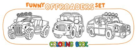 Funny Buggy car or outroader coloring book set. Buggy, offroader or SUV, and pickup truck coloring book set for kids. Small funny vector cute car car with eyes Stock Photo