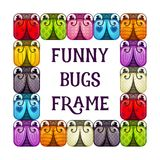 Funny bugs frame. Cartoon colorful background. vector illustration