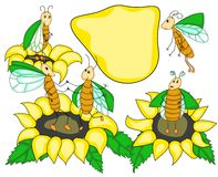 Funny bugs and sunflowers. In simple style Royalty Free Stock Photos