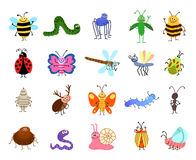 Funny bugs. Vector cute insects  on white background. Funny bugs. Vector cute bugs and insects  on white background. Set of characters insects bee and Stock Photography