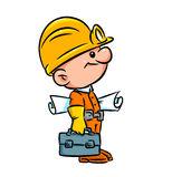 Funny builder illustration cartoon Stock Image