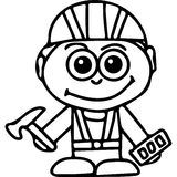 Funny builder kids coloring page Stock Images