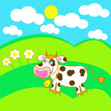 Funny bull. Is walking on a green meadow Royalty Free Stock Photography