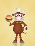 Funny bull with hamburger Stock Photos