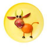 Funny bull made of orange and apple Royalty Free Stock Photography