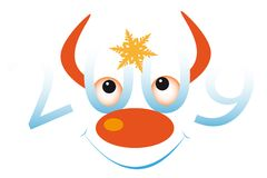 Funny bull's face with nose. New Year's and Christmass collection of illustrations royalty free illustration