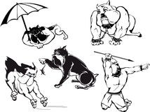 Funny Bulldog Cartoons Set Stock Images