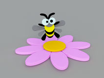Funny bumblebee and Pink flower Royalty Free Stock Images