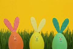 Funny bunnies easter eggs Royalty Free Stock Images