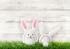 Funny bunnies green grass Easter eggs decoration Royalty Free Stock Photo