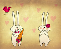 Funny bunnies in love Royalty Free Stock Photo
