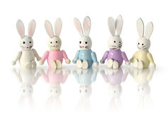 Funny bunnies in row Stock Images