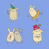 Funny bunnies on a white background. Royalty Free Stock Photos