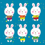Funny bunnies on a white background Vector. Characters Stock Images