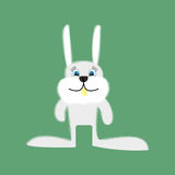 Funny Bunny. Cartoon white rabbit on a green background. Vector. Illustration Royalty Free Stock Images
