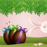 Funny bunny with chocolate eggs Stock Image