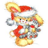 Funny bunny and Christmas watercolor background Stock Photo