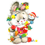 Funny bunny and Christmas watercolor background  New year cute bunny Stock Photo