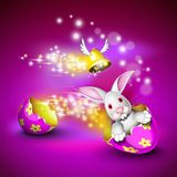 Funny bunny driving an egg shell. Funny bunny driving a decorated egg shell over a pruple background royalty free illustration