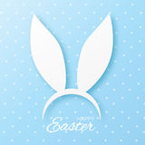 Funny Bunny Easter ears greeting card. Paper cut style Royalty Free Stock Photos