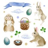 Funny bunny easter watercolor set. Cute cartoon animals with basket, painted eggs, nest, clouds collection. Spring