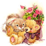 Funny bunny, flowersand toy teddy bear illustration. vector illustration