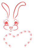 Funny bunny with frame of hearts. In pink colors Royalty Free Stock Photo