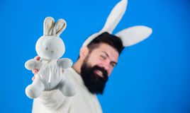 Funny bunny man with beard and mustache. Easter symbol concept. Guy bearded hipster cute gentle bunny long ears blue stock images