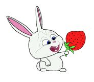 Funny bunny with strawberry royalty free illustration