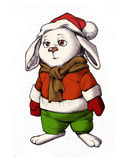 Funny bunny wearing warm winter clothes Royalty Free Stock Images