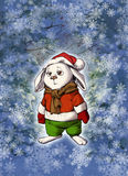 Funny bunny wearing warm winter clothes Royalty Free Stock Photography