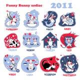 Funny bunny zodiac. Funny bunny star sings set Royalty Free Illustration