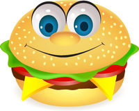 Funny burger cartoon Royalty Free Stock Photo