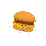 Funny burger fast food kids menu character Stock Photography