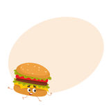 Funny burger fast food kids menu character Royalty Free Stock Image