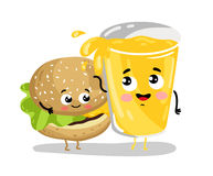 Funny burger and lemonade cartoon characters. Cute burger and lemonade glass cartoon characters isolated on white background vector illustration. Funny fast food Stock Image