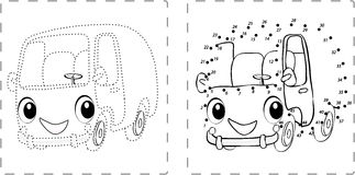 Funny bus drawing with dots and digits vector illustration