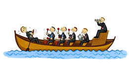 Funny business cartoon of a row boat royalty free illustration