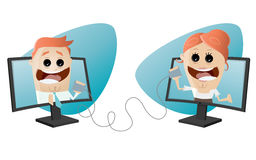 Funny business characters with connection. Illustration of funny business characters with connection Royalty Free Stock Images