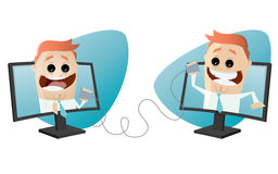 Funny business characters with connection. Illustration of funny business characters with connection Stock Photos