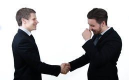 Funny business handshake Stock Image