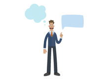 Funny business man character with empty speech bubbles Royalty Free Stock Image