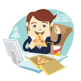 Funny business man eating pizza at his office work place with OK Royalty Free Stock Photos