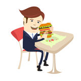 Funny business man eating sandwich burger at cafe table. Flat st. Vector illustration Funny business man eating sandwich burger at cafe table. Flat style Royalty Free Stock Photo