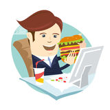 Funny business man eating sandwich burger at his office workplac. Vector illustration Funny business man eating sandwich burger at his office workplace. Flat Stock Image
