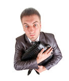 Funny business man holding briefcase Royalty Free Stock Photos