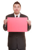 Funny business man holding sign red blank Stock Image