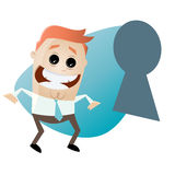 Funny business man looking through keyhole. Illustration of a funny business man looking through keyhole Royalty Free Stock Photography